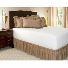 1 Qty Bed Skirt Ruffle/Gathering Egyp.Cotton Drop 8-30 Inch Taupe Solid