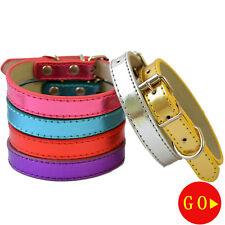 Fashion Metallic Leather Dog Collar Adjustable Buckle Collar For Small Pet