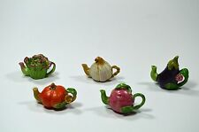 Tiny decorative dollhouse miniature fruit and vegetable teapot~GARLIC~LETTUCE~