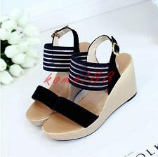 Womens Platform Sandals High Wedge Heel Shoes Summer open toe buckle pump