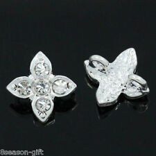 Wholesale Lots Spacer Beads Slider With Rhinestone 2 Holes 13mm x 10mm