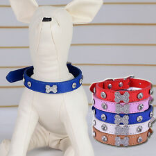 Dog Collar For Small DogsBone Shaped Rhinestone Collar Adjustable Pet Neck Strap