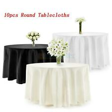 """10X 90"""" Round Polyester Tablecloth Wedding Party Table Linens Black/Ivory/White"""
