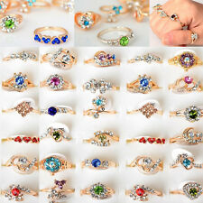10/30/50/100pcs Wholesale Jewelry Lots Crystal Gold Plated Rings Wedding Ring US
