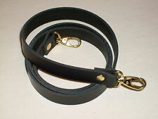 """3/4"""" BLACK LEATHER SHOULDER BAG REPLACEMENT STRAP GOLD FITTINGS"""