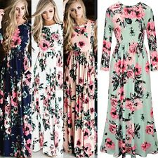 UK Womens Holiday Long Dress Ladies Summer Floral Maxi Dress Sundress Size 8-20