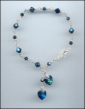 Beautiful Sterling Charm Bracelet w/ Swarovski BERMUDA BLUE Crystal Hearts