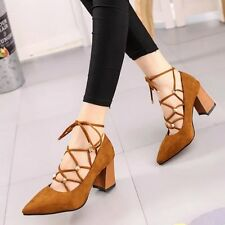 Women Ankle Strap Pumps Narrow Band High Heels Shoes Lace Up Dress Shoes