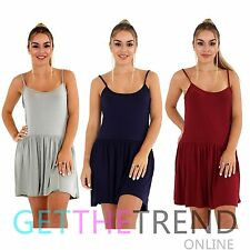 Womens Cami Tops Strappy Flared Hemline Plus Size Sleeveless Skater Swing Dress