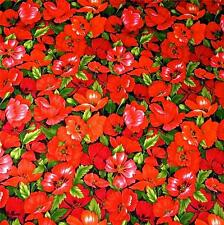 Bright Floral, Delightful Red Wild Flowers, Cotton Fabric by FabriQuilt