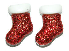 BRIGHT RED GLITTER CHRISTMAS STOCKING STUD or CLIP ON EARRINGS (H062)