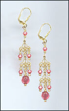 Delicate Gold Filigree Earrings made with Swarovski CORAL SUNSET Crystals