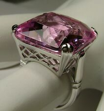 20ct *Pink Topaz* Solid Sterling Silver Victorian Filigree Ring Size: Any/MTO