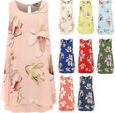 Plus Womens Layered Dress Top Ladies Floral Print Lined Sleeveless Knee Length