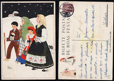 1946 Portugal Christmas Postcard Stationery PPC Used #105. Family Midnight Mass