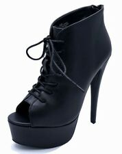LADIES BLACK ZIP-UP PLATFORM PEEP-TOE LACE-UP ANKLE HIGH-HEEL BOOTS SHOES UK 3-9