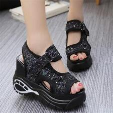 Womens Shoes High Platform Wedge heel Sport Sandals Casual Sneaker Sequin shoes