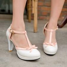 Sweet girl Womens Retro Mary Jane T-Strap buckle Bowknot High Heel Pumps Shoes
