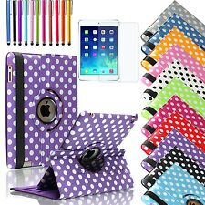 For iPad 4 3 2 Retina Display 360 Rotating Polka Dot Leather Case Smart Cover