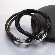 Round Handmade Leather Bracelet Chain with Lobster Clasp and Charm 1pc Retro