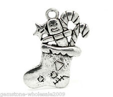 Wholesale Lots Silver Tone Christmas Candy Cane Stocking Charms Pendants GW