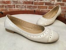Isaac Mizrahi Sage Leather Captoe Ivory Ballet Flats New