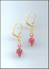 Casual Gold Earrings made with Swarovski CORAL SUNSET Crystals GIFT BOXED