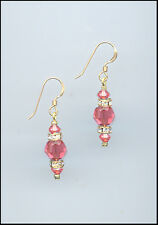 Simple Beauty, Gold Rondelle Earrings with Swarovski CORAL SUNSET Crystals