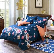 Navy Orange Flowers Bed Quilt Cover Duvet Cover Set Twin Queen King Size