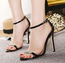 Womens Peep Toe Barely High Heel Ankle Strap Buckle Party Sandals Shoes New B@p