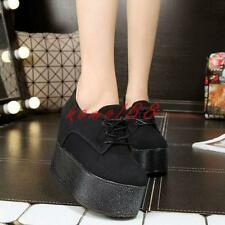 Fashion Womens Lace Up Punk Goth Platform Creeper Pumps wedge heel Casual Shoes