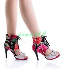 Chic Floral Bowknot Womens Party Prom Sandals High Heel Peep Toe high top Shoes