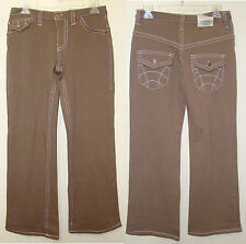 Cocoa Brown or Off White Stitched Jean Trousers - Size M or L - NWT
