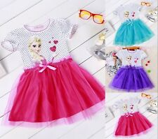 New Girls Kid Frozen Princess Dress ELSA ANNA Tutu Dress Skirt Party Daily Dress