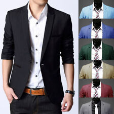 Stylish Men's Casual Slim Fit One Button Suit Blazer Coat Jacket Tops Fashion fe