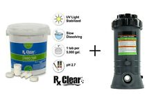 """Rx Clear® 3"""" Stabilized Chlorine Swimming Pool Tablets w/ Feeder (Choose Size)"""