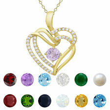 Dolce Giavonna Gold over Sterling Silver Gemstone and Cubic Zirconia Heart Birth