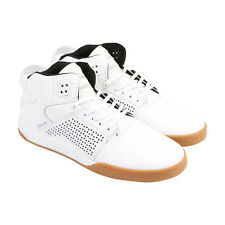 Supra Skytop III Mens White Suede Lace Up Trainers Shoes