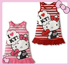 Baby Girls Cute HelloKitty Dress For Girl Summer Casual Cartoon Clothing 1- 5