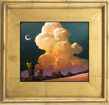Vintage Hawkins Signed Art Painting Impressionism Gold Clouds Moon Western Decor