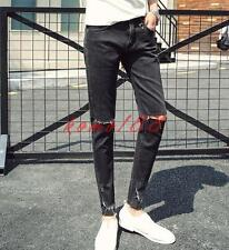 Mens summer denim ripped breath slim fit pants pencil jeans black cropped trouse