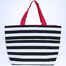 Black & White with pink trim stripe Insulated Lunch Tote Bag-Lunch Bag