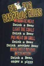 BBQ Barbeque Rules Drink Beer Big Dogs Navy Blue Tee Shirt Small & Medium Cotton