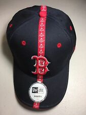 NEW ERA BOSTON RED SOX STRIPED LOGO CURVED BRIM ADJUSTABLE YOUTH HAT