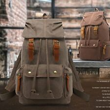 Mens Backpack Travel Canvas Camping Packs Laptop Hiking Outdoor Sport Women Bag