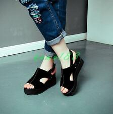 Summer Womens High Wedge Heels Platform peep Toe Ankle Strap Sandals Shoes Size