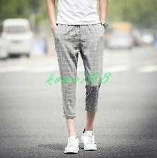 Summer Mens Trendy plaid Slim Fit Casual Pants cropped Trousers shorts 5XL