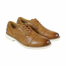 Steve Madden Tobyas Mens Tan Leather Casual Dress Lace Up Oxfords Shoes