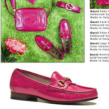 37 37.5 38 NEW $595 GUCCI Hot Pink PATENT LEATHER Horsebit anniversary LOAFERS