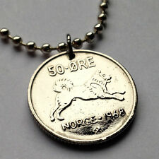 Norway 50 ore coin pendant Norwegian Elkhound dog Nordic Norsk Elghund n000249